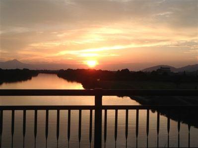 緑川の夕日