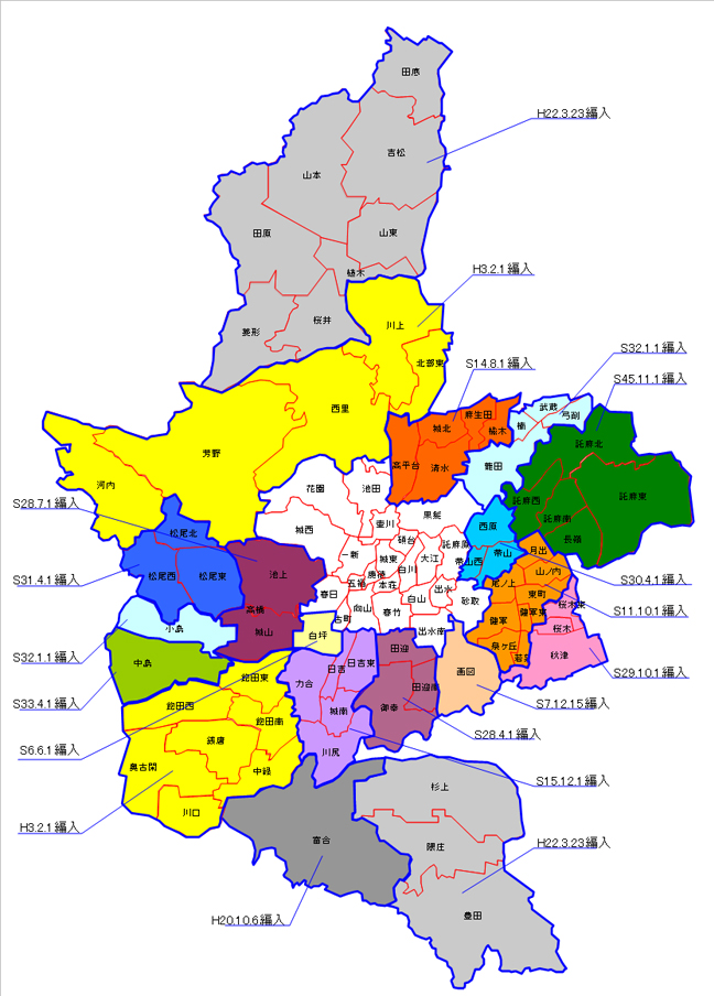 熊本市の合併の沿革(地図)