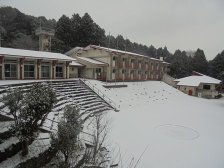 舎営と石段も真っ白になっています。