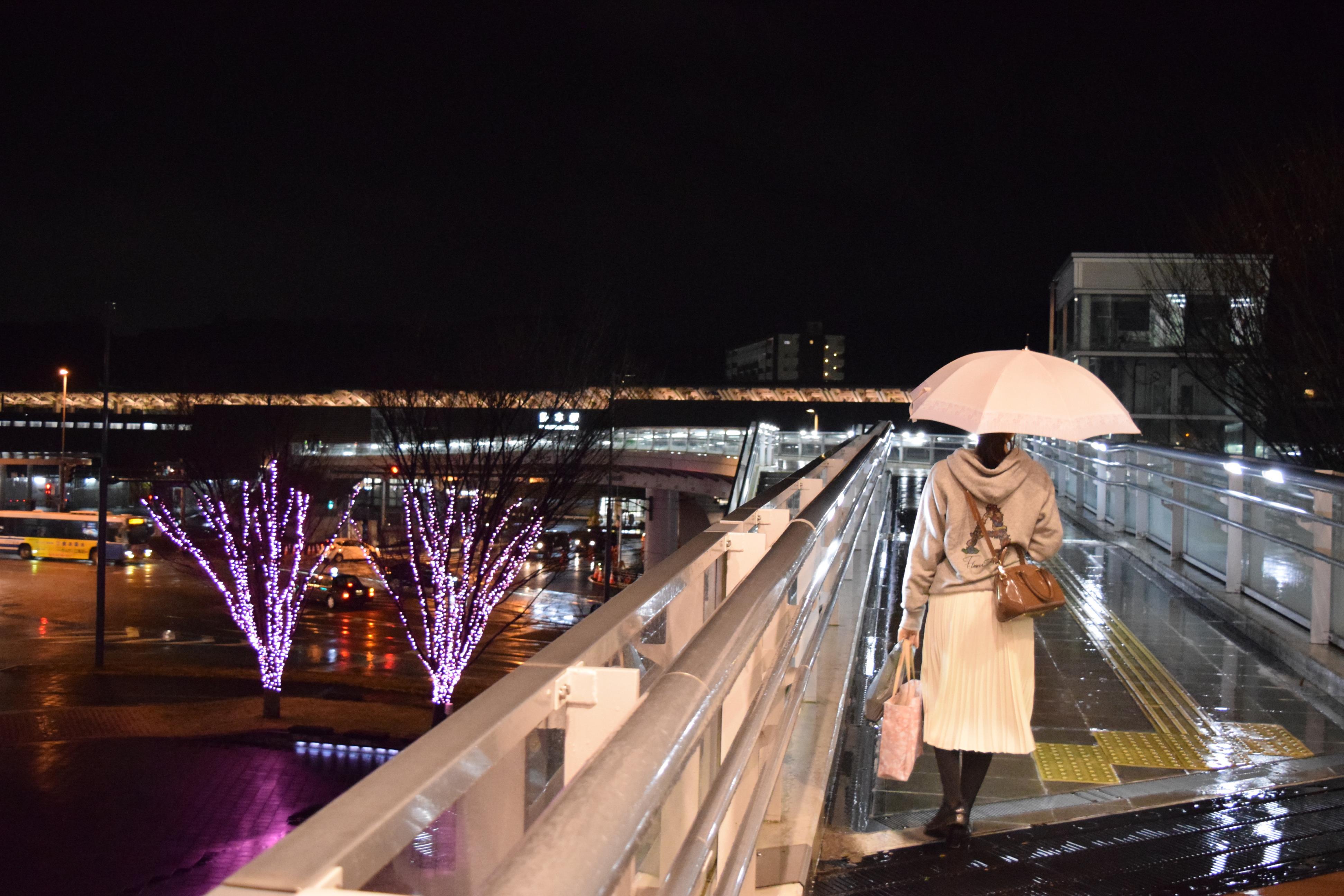 駅へ向かう舗道「雨の宵」