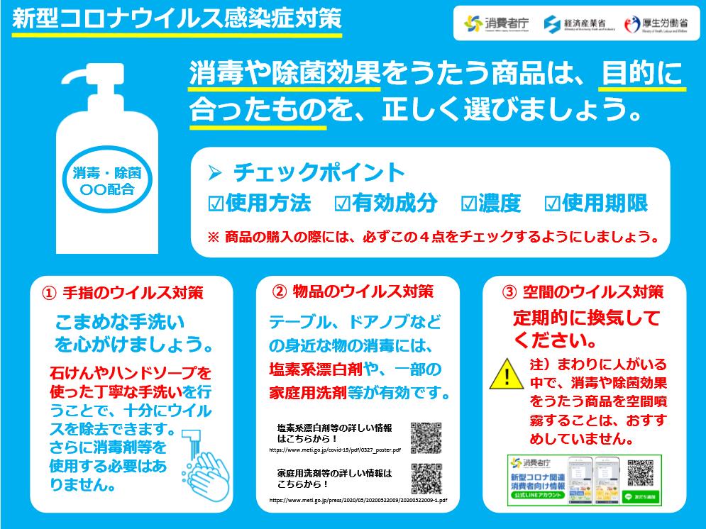 消毒や除菌効果をうたう商品は、目的に 合ったものを、正しく選びましょう。