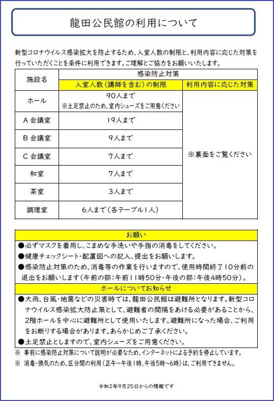 龍田公民館の利用(表)