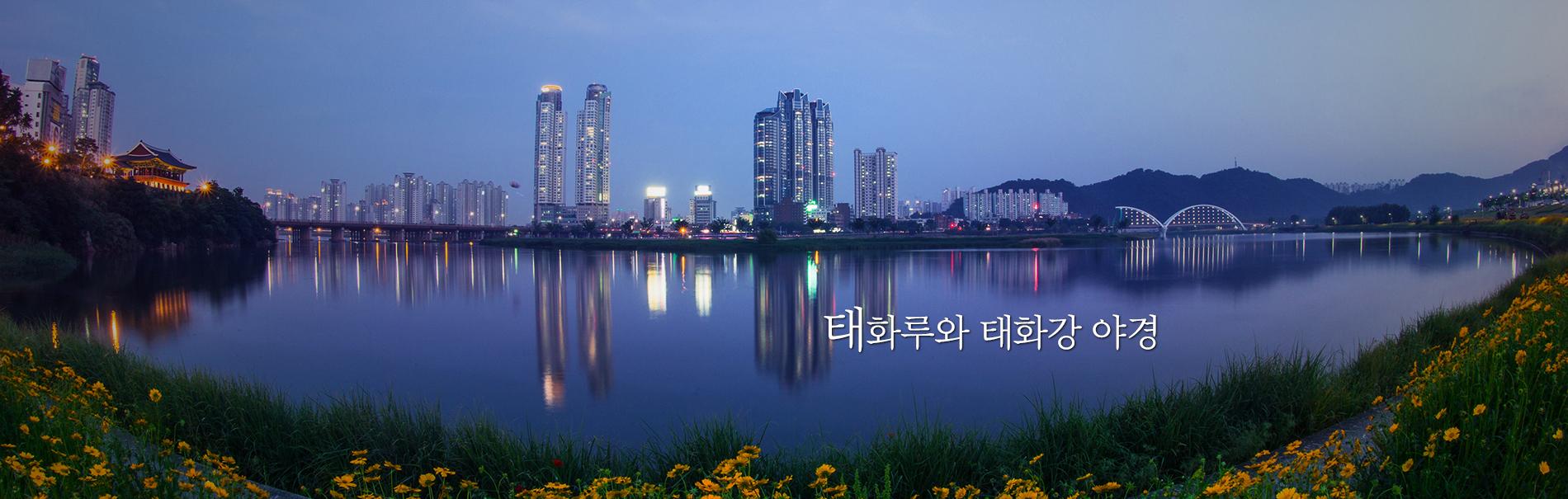 太和楼と太和川の夜景