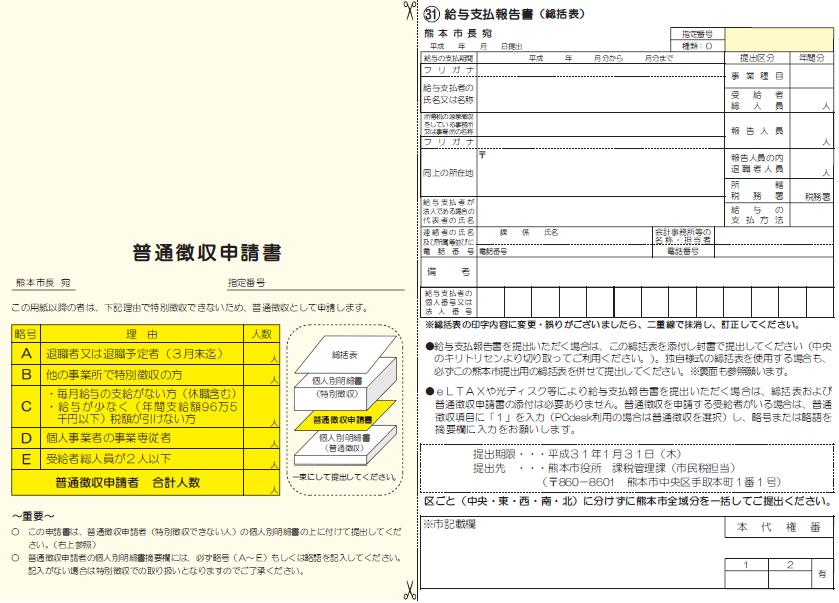 平成31年度総括表・普通徴収申請書